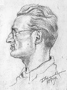 Михаил Носырев. Рисунок Харламова. Воркута, 1943 г., лагерь